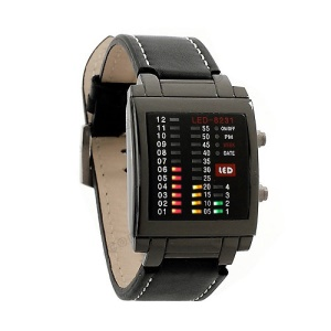 Multicolor Light LED Watch Week Date Display Leather Watchband 8231 - Black Dial