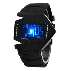 Cool Airplane Pilot Design LED Calendar Sport Cuff Watch - Black