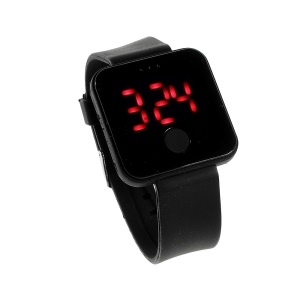 One Button Control Red LED Digital Watch w/ Silicone Jelly Band - Black