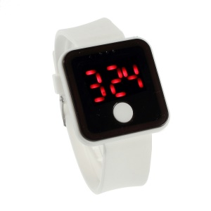 One Button Control Red LED Digital Watch w/ Silicone Jelly Band - White