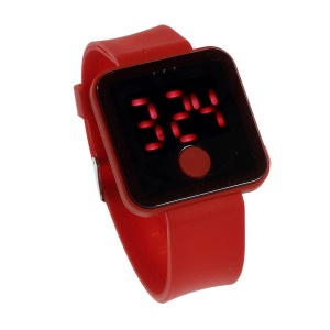 Red LED Digital Watch w/ One Button Control & Silicone Band - Red