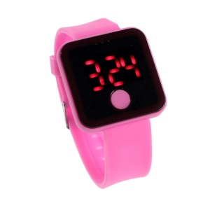 Red LED Digital Watch w/ One Button Control & Silicone Band - Rose