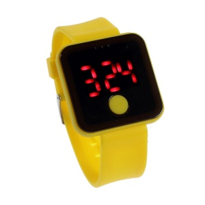 Red LED Digital Watch w/ One Button Control & Silicone Band - Yellow