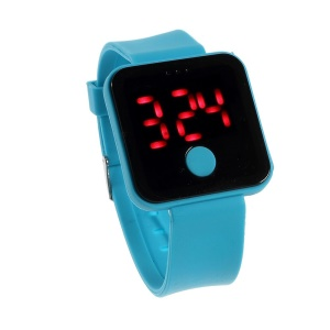 Silicone Band Red LED Digital Watch w/ One Button Control - Baby Blue