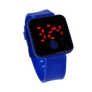 Silicone Band Red LED Digital Watch w/ One Button Control - Dark Blue