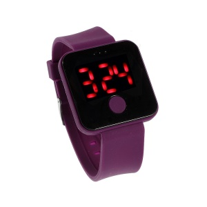 Silicone Band Red LED Digital Watch w/ One Button Control - Purple