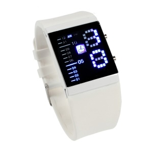 Shifenmei Blue LED Stainless Steel Watch with Silicone Band - White