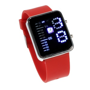 Shifenmei Stainless Steel Blue LED Watch with Silicone Band - Red