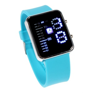 Shifenmei Blue LED Stainless Steel Watch with Silicone Band - Baby Blue