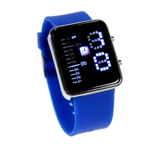 Shifenmei Blue LED Stainless Steel Watch with Silicone Band - Dark Blue