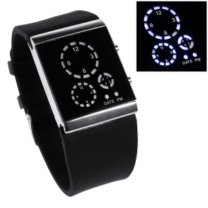 Three-circle Blue LED Wrist Watch with Silicone Band - Black