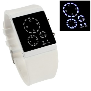 Three-circle Blue LED Wrist Watch with Silicone Band - White