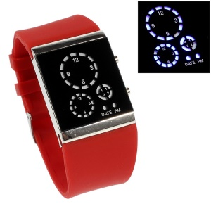 Three-circle Blue LED Wrist Watch with Silicone Band - Red