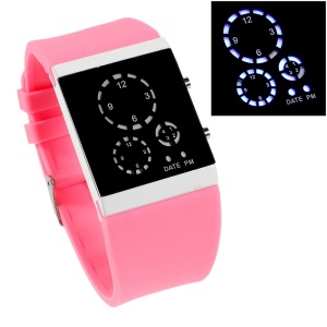 Three-circle Blue LED Wrist Watch with Silicone Band - Pink