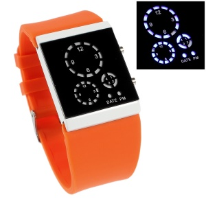Silicone Band Three-circle Blue LED Wrist Watch - Orange