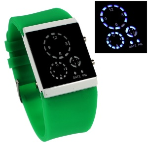 Silicone Band Three-circle Blue LED Wrist Watch - Green