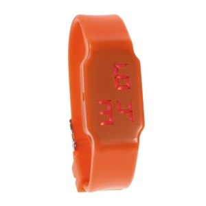 Simple Red LED Wrist Watch w/ Silicone Band - Orange