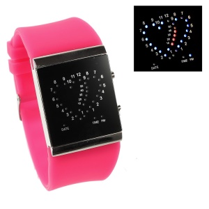 Heart Shape Blue & Red LED Watch w/ Adjustable Silicone Band - Pink
