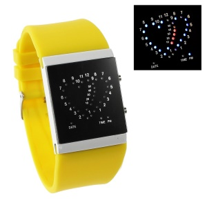Heart Shape Blue & Red LED Watch w/ Adjustable Silicone Band - Yellow