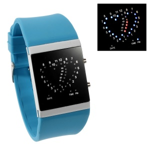 Heart Shape Blue & Red LED Watch w/ Adjustable Silicone Band - Baby Blue