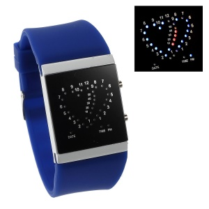 Heart Shape Blue & Red LED Watch w/ Adjustable Silicone Band - Dark Blue