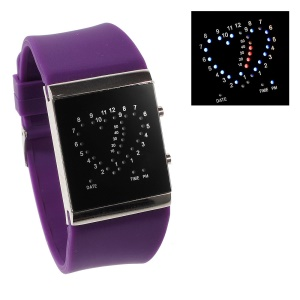 Heart Shape Blue & Red LED Watch w/ Adjustable Silicone Band - Purple