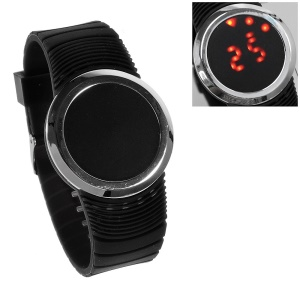 Round Touchable Silicone Dial Red LED Wrist Watch w/ Silicone Band - Black