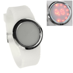 Round Touchable Silicone Dial Red LED Wrist Watch w/ Silicone Band - White
