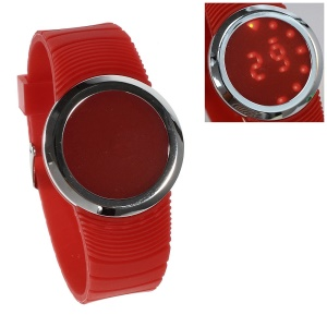 Round Touchable Silicone Dial Red LED Wrist Watch w/ Silicone Band - Red