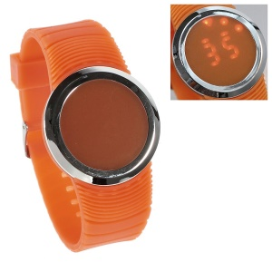 Round Touchable Silicone Dial Red LED Wrist Watch w/ Silicon Band - Orange