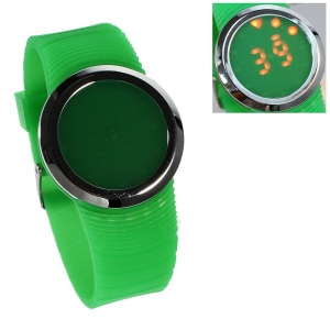 Round Touchable Silicone Dial Red LED Wrist Watch w/ Silicon Band - Green