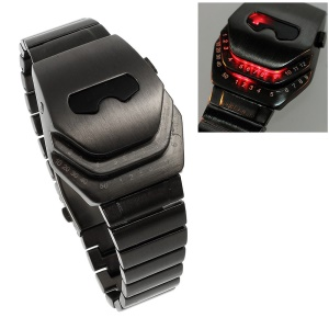 Iron Man Shape Dial Stainless Steel LED Watch Wrist Watch - Red LED Light