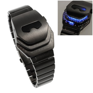 Iron Man Shape Dial Stainless Steel LED Watch Wrist Watch - Blue LED Light