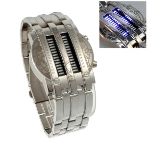 Superb Stainless Steel 28 Blue LEDs Display Wrist Watch - Silver