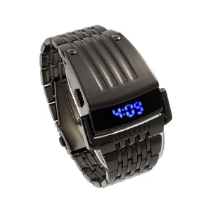 Cool Stainless Steel Blue LED Digital Wrist Watch - Black