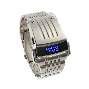 Cool Stainless Steel Blue LED Digital Wrist Watch - Silver