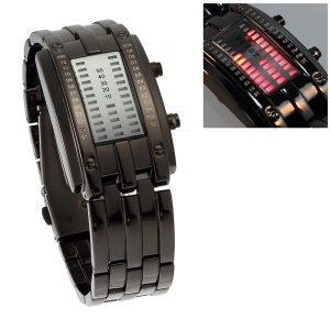 Nice Stainless Steel 29 Red LEDs Display Wrist Watch - Black