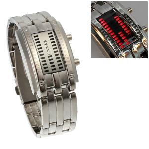Nice Stainless Steel 29 Red LEDs Display Wrist Watch - Silver