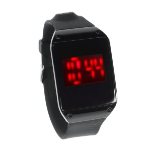 Red LED Stainless Steel Touch Watch w/ TPU Watchband - Black Dial
