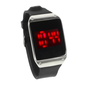 Red LED Stainless Steel Touch Watch w/ TPU Watchband - Silver Dial