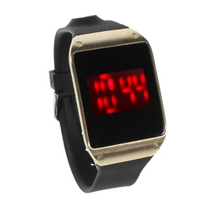 Red LED Stainless Steel Touch Watch w/ TPU Watchband - Gold Dial