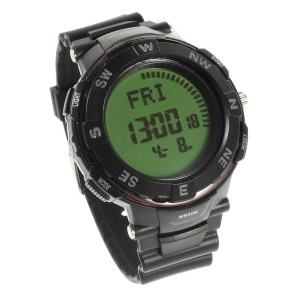 LCD Display Blacklight Time Wrist Watch w/ Compass Function - Black