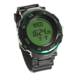 Compass Function LCD Display Blacklight Time Wrist Watch - Green