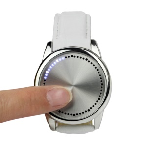 Blue LED Fashion Men Women Unisex Touch Screen Smart Wrist Watch - White Leather Band