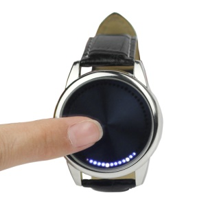 Blue LED Fashion Men Women Unisex Touch Screen Smart Wrist Watch - Black Leather Band