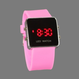 Hot Sports LED Watch with Silicone Band - Pink