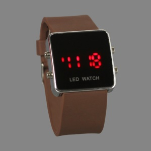 Hot Sports LED Watch with Silicone Band - Brown