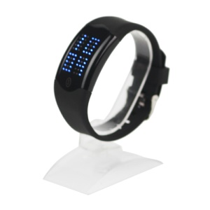 60 Blue LEDs Dot Matrix Casual Sport Touchscreen Wrist Watch - Black