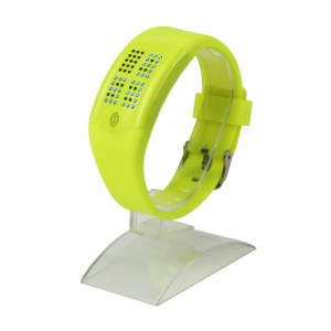 60 Blue LEDs Dot Matrix Casual Sport Touchscreen Wrist Watch - Sulfur Yellow