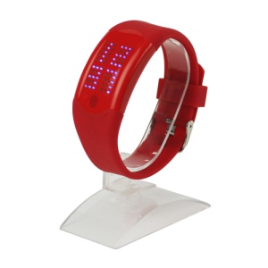 60 Blue LEDs Dot Matrix Casual Sport Touchscreen Wrist Watch - Red